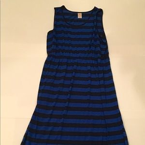 Faded Glory Easy Going Blue Black Striped Maxi XXL